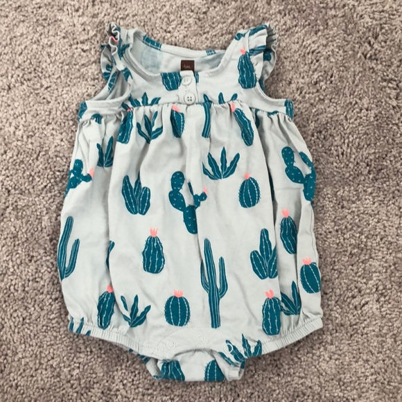 f9bfc7bf8 Tea Collection One Pieces   Euc 36m Cactus Print Henley Romper ...